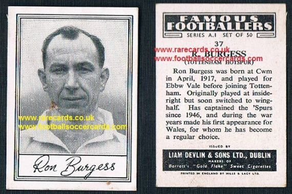 1952 Liam Devlin Ireland Series A1 #37 Ron Burgess Spurs
